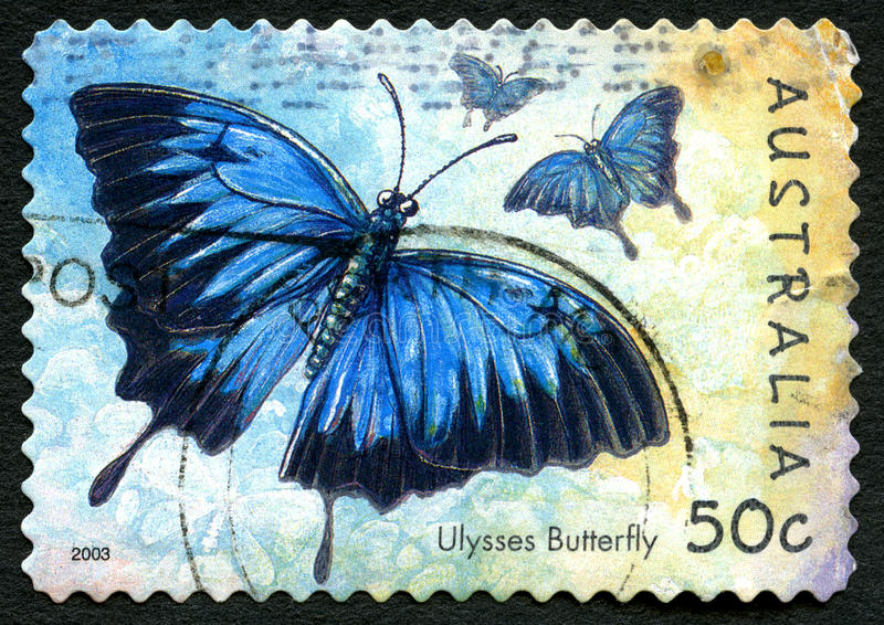 Ulysses Butterfly Australian Postage Stamp royalty free illustration
