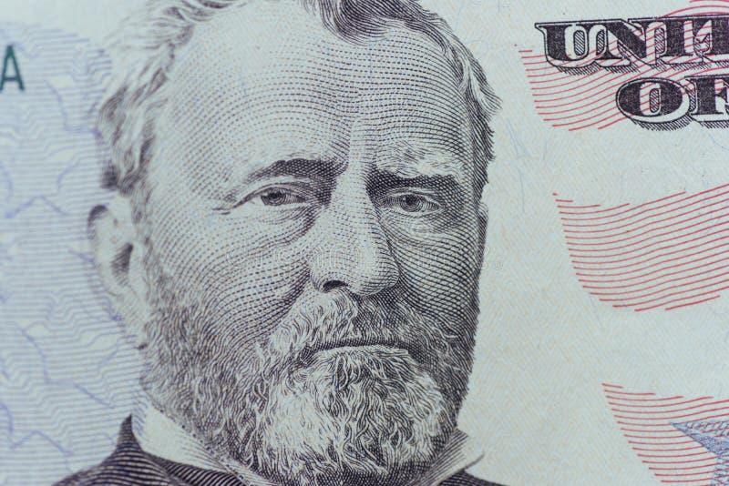 Ulysses Grant en la persona de los E.E.U.U. cincuenta o el primer de la macro de 50 cuentas imágenes de archivo libres de regalías