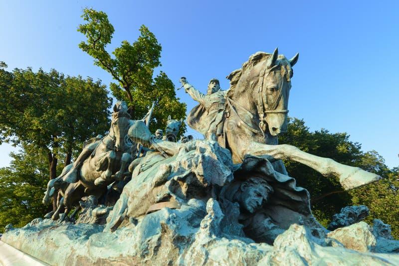Ulysses S. Grant Cavalry Memorial davanti a Capitol Hill in Washington DC fotografie stock