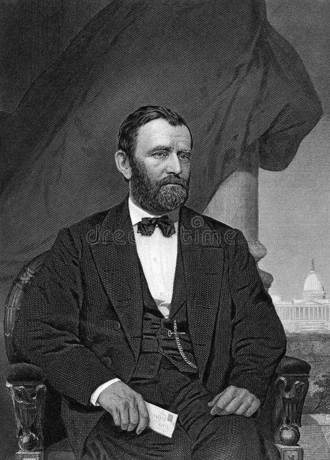 Ulysses S. Grant. (1822-1885) on engraving from 1873. 18th President of the United States (1869-1877) and military commander during the Civil War. Engraved by royalty free stock photo