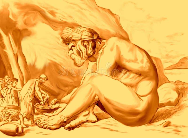 Ulysses som ger vin till Polyphemus royaltyfri illustrationer