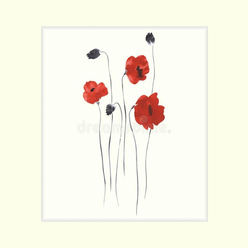 Um Ähnliches zu sehen, besuchen Sie bitte meine Galerie Kaninchen mit einem Geschenk Blühende rote Blumen von Mohnblumen auf eine stock abbildung
