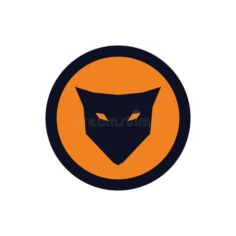 Um ícone azul-amarelo simples da raposa ilustração royalty free