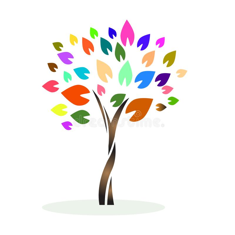 Um ícone colorido do logotipo da árvore ilustração stock