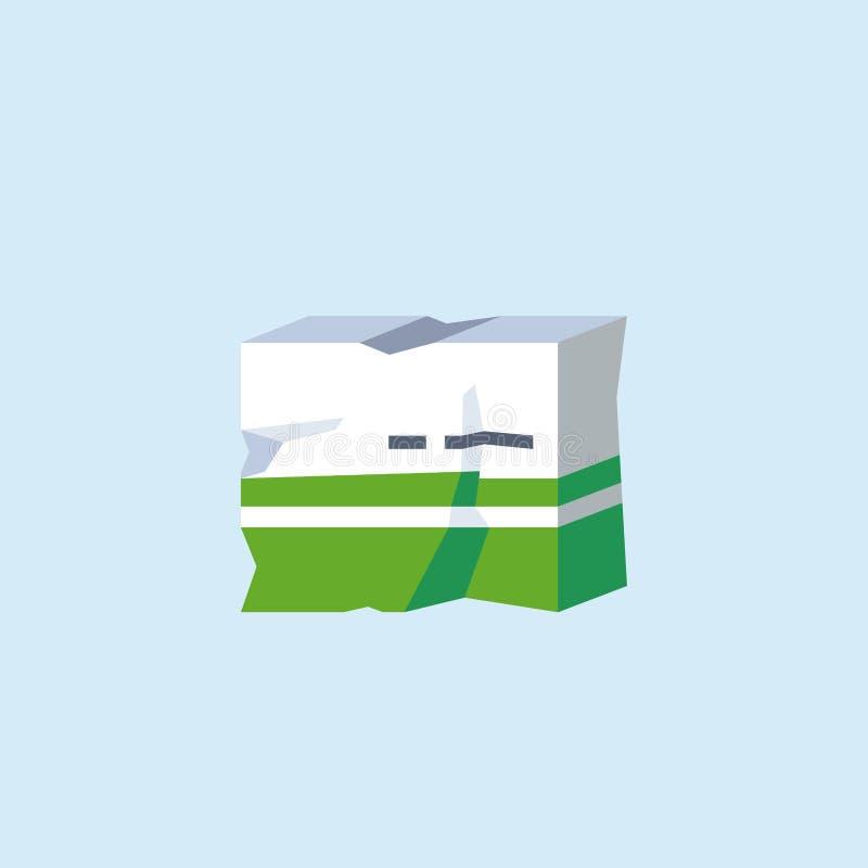 Um ícone da ilustração do vetor de um empacotamento gravemente defeituoso da medicina do cartão Conceito para bens danificados ilustração stock