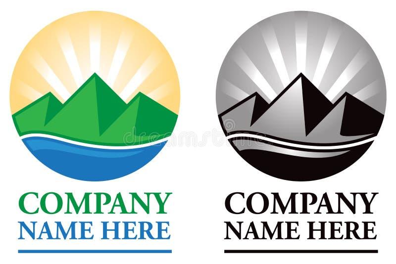 Logotipo do nascer do sol da montanha ilustração royalty free