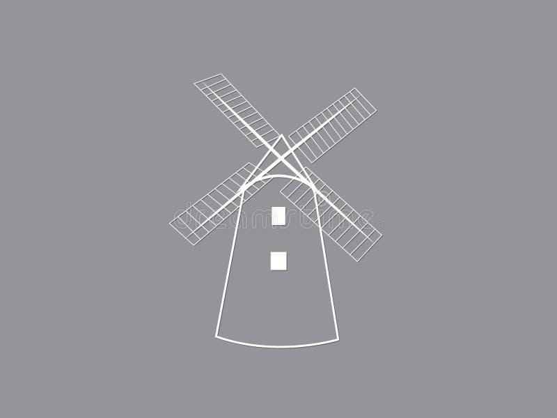 Um ícone ou um logotipo tradicional branco do vetor da casa do moinho de vento no fundo escuro para moer a ilustração da grão ilustração do vetor