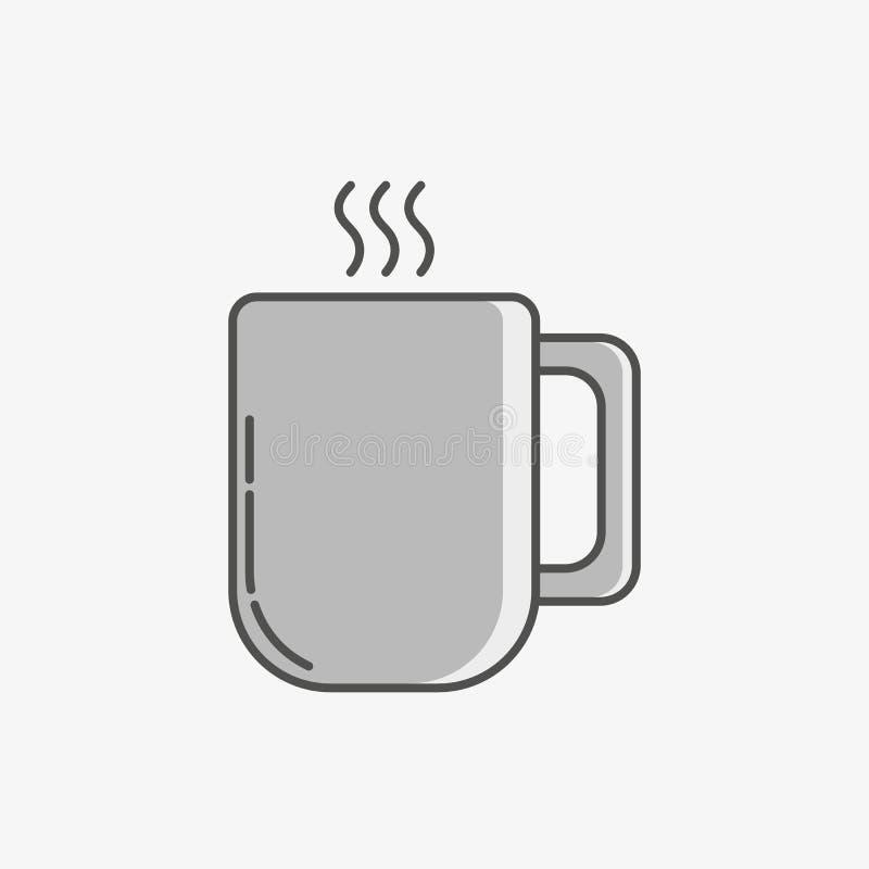 Um ícone simples de uma caneca com bebida quente ilustração do vetor