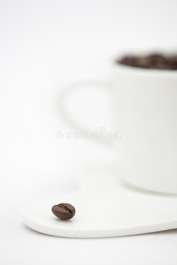 Um único grão de café e um copo completos das grões imagens de stock royalty free
