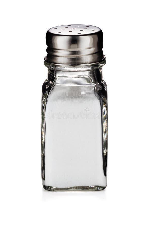 Um abanador de vidro do sal de tabela isolado no fundo branco imagens de stock royalty free
