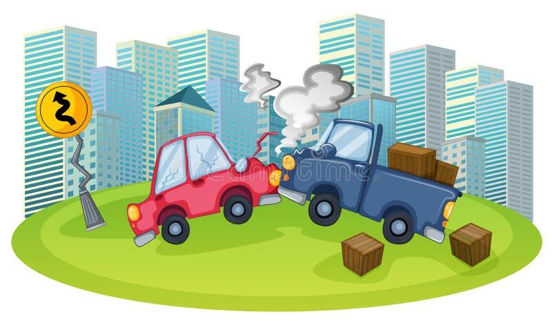 Um acidente de trânsito na frente das construções altas ilustração do vetor