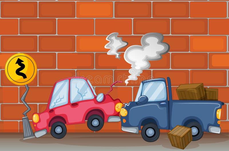 Um acidente de transito perto da parede ilustração do vetor