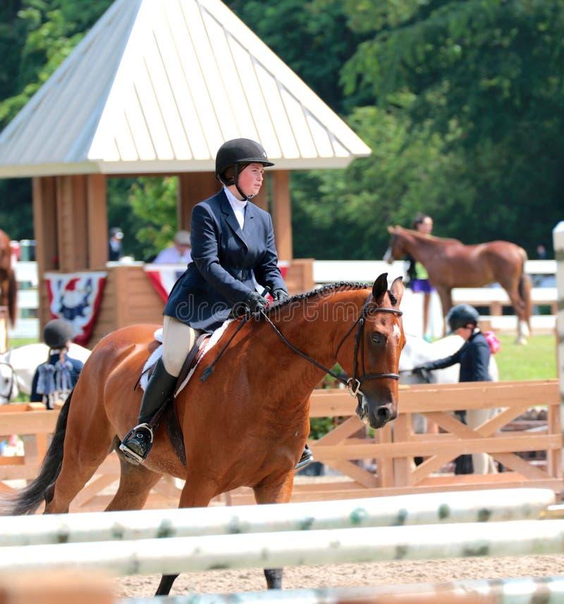 Um adolescente novo monta um cavalo na mostra do cavalo da caridade de Germantown foto de stock