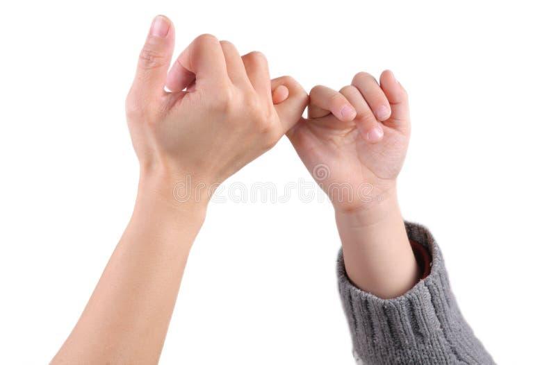 Um adulto e as mãos de uma criança fazem os sig da promessa imagem de stock royalty free