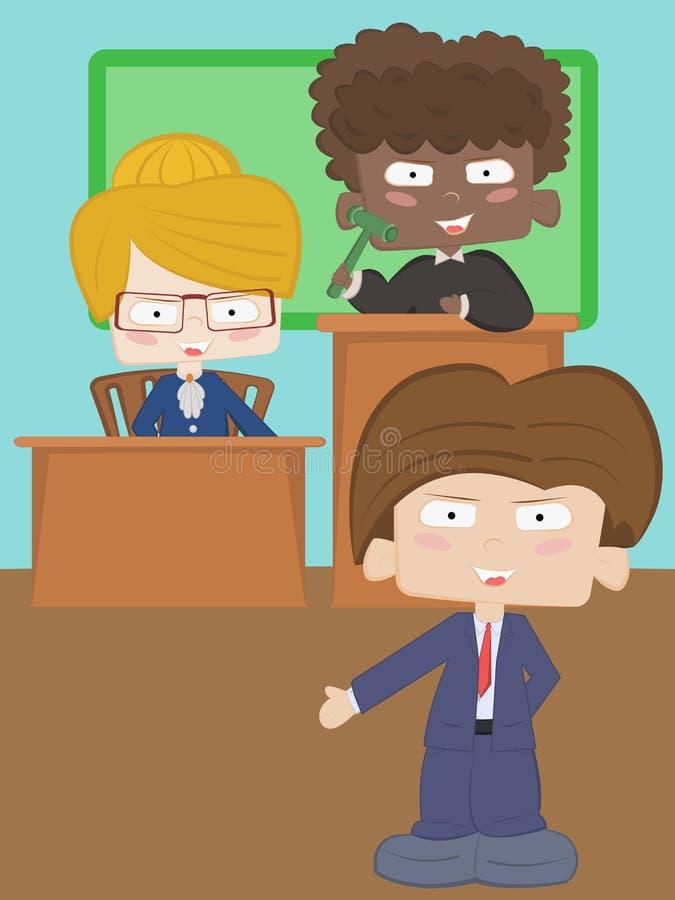 Um advogado, uma secretária e um juiz ilustração do vetor