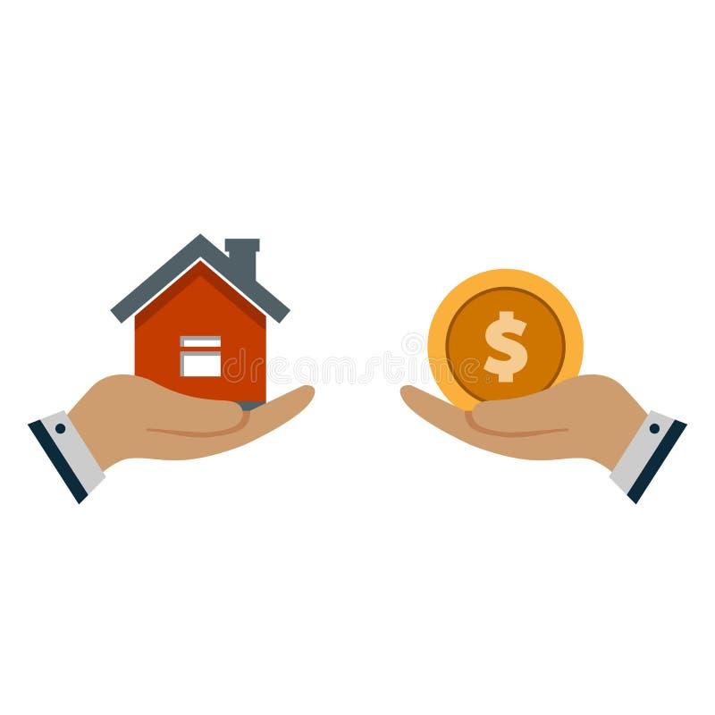 Um agente da mão com uma casa na palma de sua mão Troca de uma casa para o dinheiro Proposta de comprar uma casa, alugando bens i ilustração do vetor