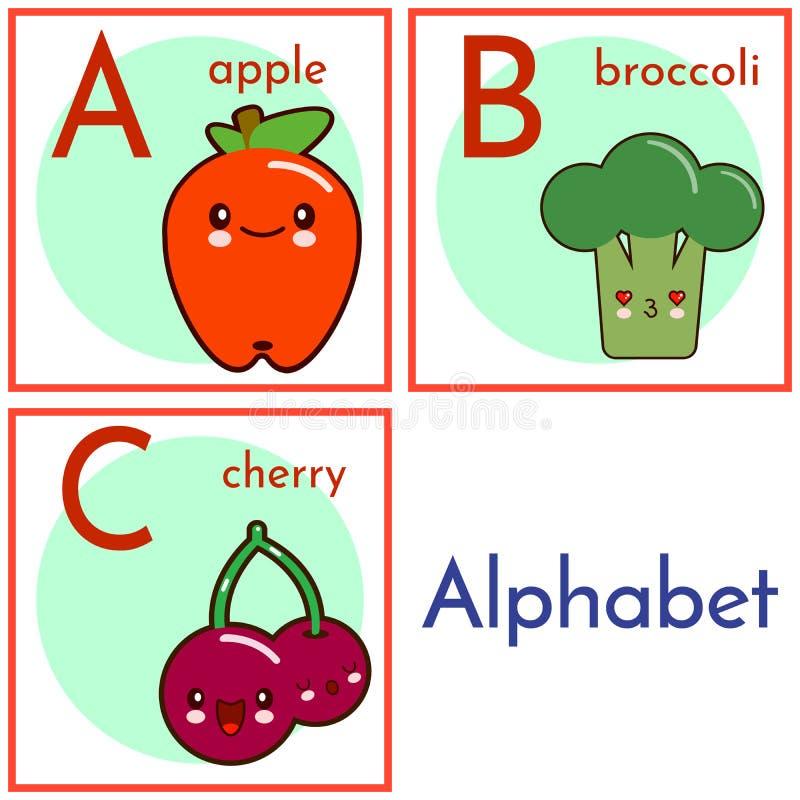 Um alfabeto com caráteres do alimento, letras à C Alfabeto do vetor dos desenhos animados isolado em um fundo branco Ilustração ilustração stock