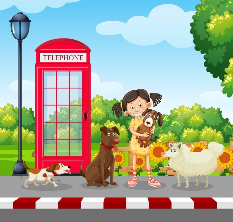 Um amante do cão no parque ilustração do vetor