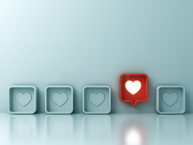 Um amor social vermelho da notificação dos meios como o ícone do pino do coração estala acima de outro em claro - fundo verde da  ilustração royalty free