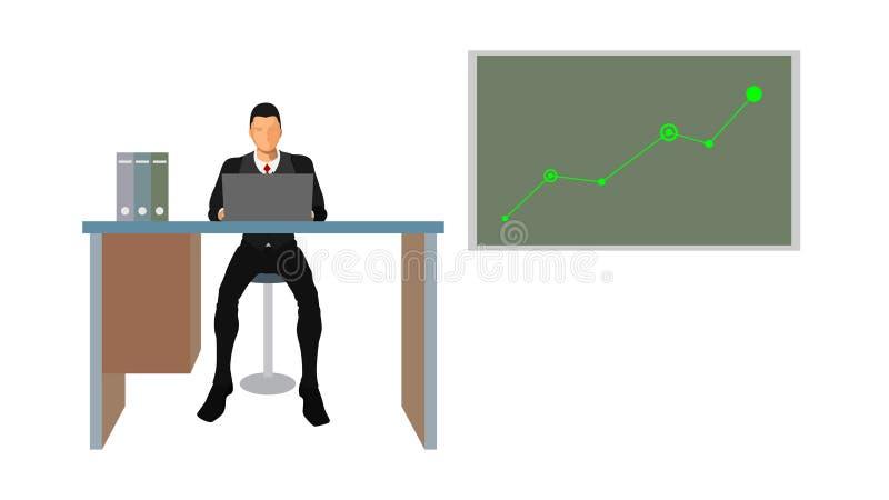 Um analista do negócio indica uma carta da tendência ilustração stock