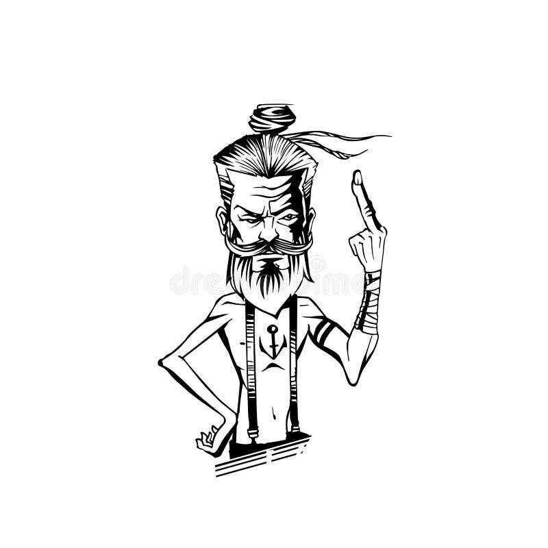 Um ancião está mostrando a ilustração média do vetor do fingure ilustração stock