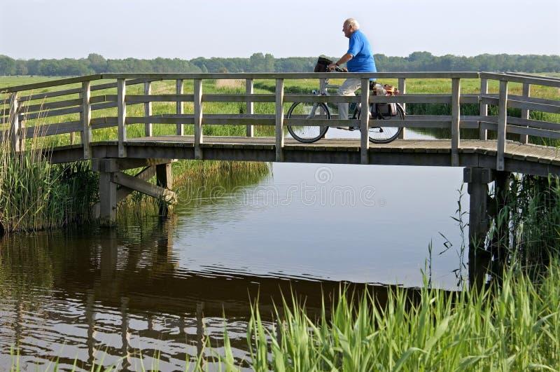 Um ancião que monta uma bicicleta na paisagem do po'lder imagens de stock royalty free