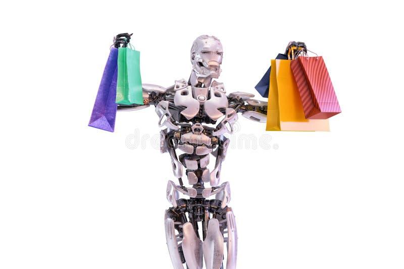 Um androide humanoid feliz do robô que guarda sacos de compras coloridos Conceito da consumição e da compra ilustração 3D ilustração do vetor