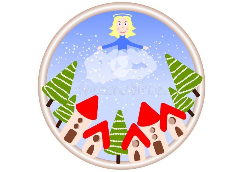 Um anjo nas nuvens está jogando a neve sobre a cidade festiva Natal Ano novo ilustração do vetor