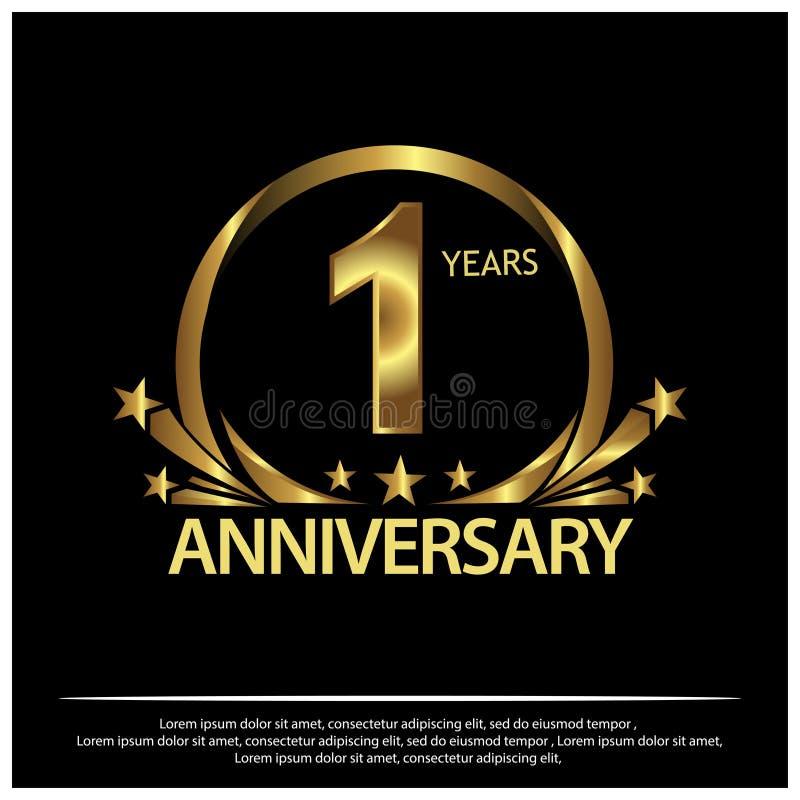 Um ano de aniversário dourado projeto do molde do aniversário para a Web, jogo, cartaz criativo, brochura, folheto, inseto, compa ilustração stock
