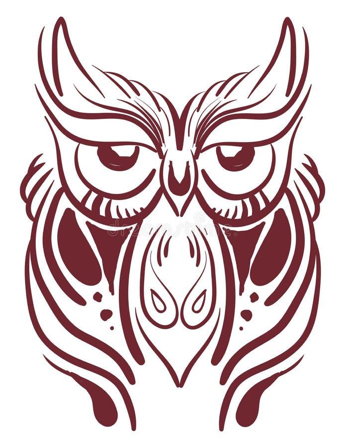 Um antigo vetor de coruja ou ilustração de cor ilustração stock