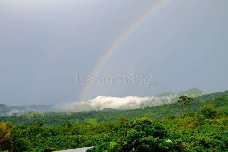 Um arco-íris que ocorresse após a chuva, que ocorre na floresta na montanha fotografia de stock royalty free