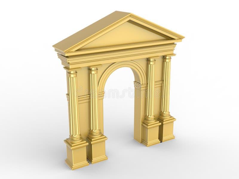 Um arco clássico dourado, arcada com colunas Corinthian, pilastras dóricos isoladas no branco ilustração royalty free