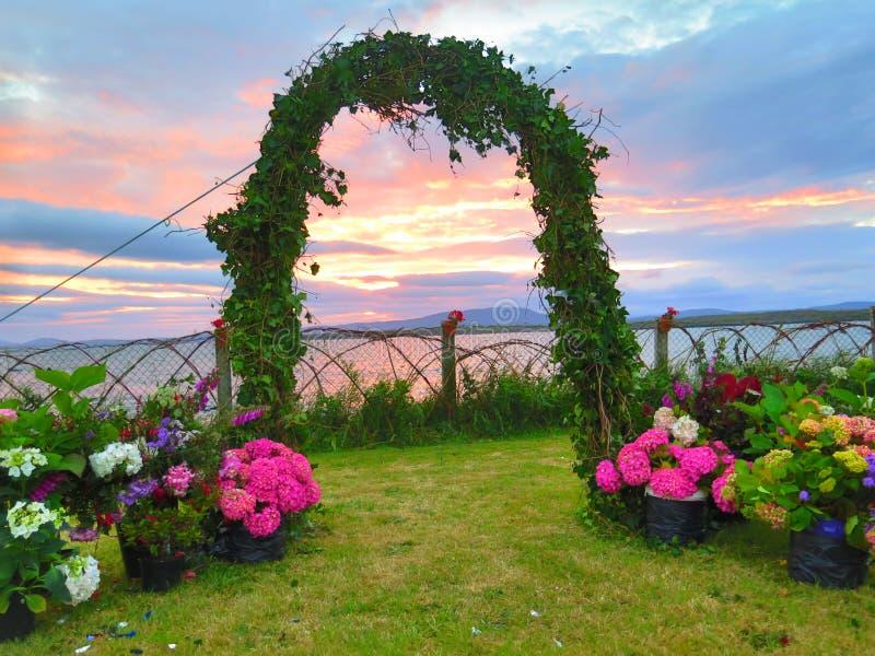Um arco do matrimônio fotografia de stock