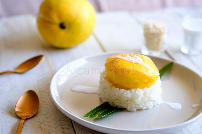 Um arroz pegajoso da manga tailandesa tradicional da sobremesa e do coco doce imagem de stock royalty free
