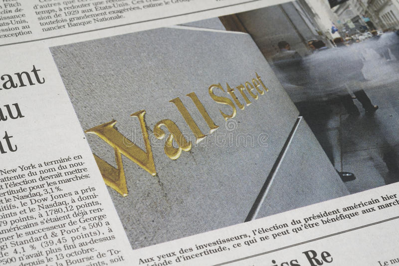 Um artigo de Wall Street foto de stock royalty free