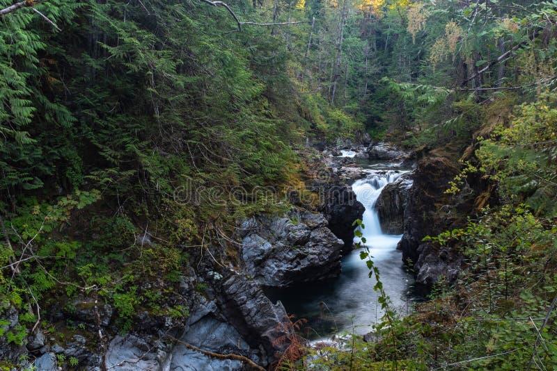 Um aspecto da paisagem de precipitações do rio de Qualicum através do desfiladeiro em pouco parque provincial de Qualicum, ilha d foto de stock royalty free