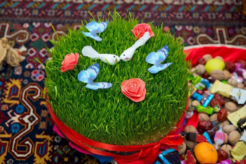 Um assoalho seminal em uma fita vermelha em uma grama seca Conceito nacional da celebração do ano novo da mola do feriado de Novr imagens de stock