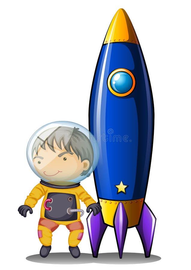 Um astronauta com um terno alaranjado que está ao lado da nave espacial ilustração do vetor
