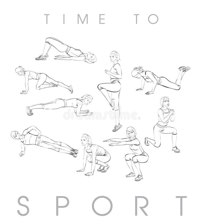 Um atleta novo executa exercícios ilustração royalty free
