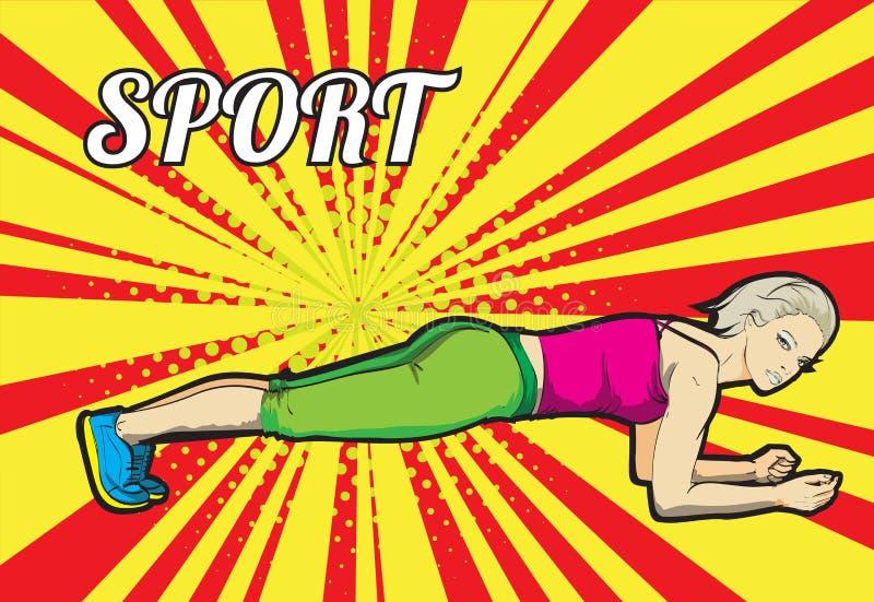 Um atleta novo executa exercícios ilustração stock
