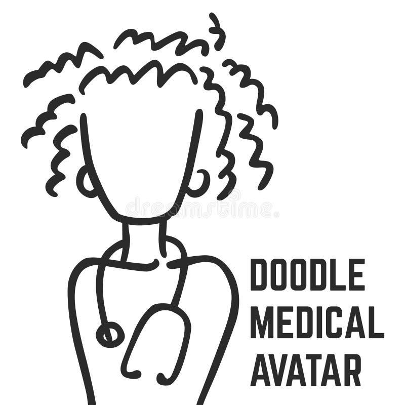 Um avatar médico da garatuja do vetor de um doutor ou de uma enfermeira Um molde quadrado para um inseto, cartaz ilustração stock