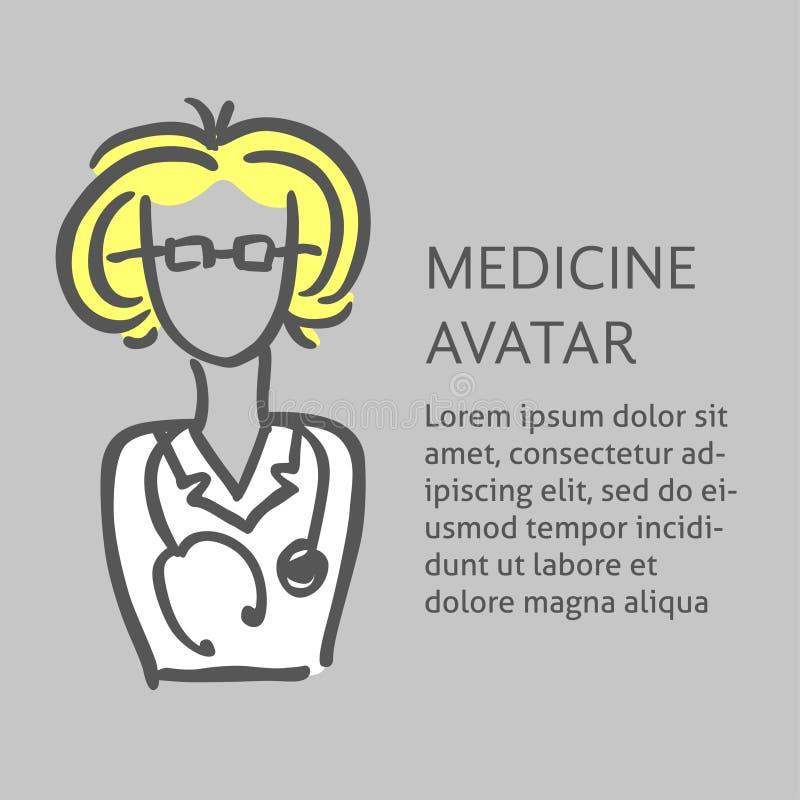Um avatar médico da garatuja do vetor de um doutor ou de uma enfermeira Um molde quadrado para um inseto, cartaz ilustração do vetor