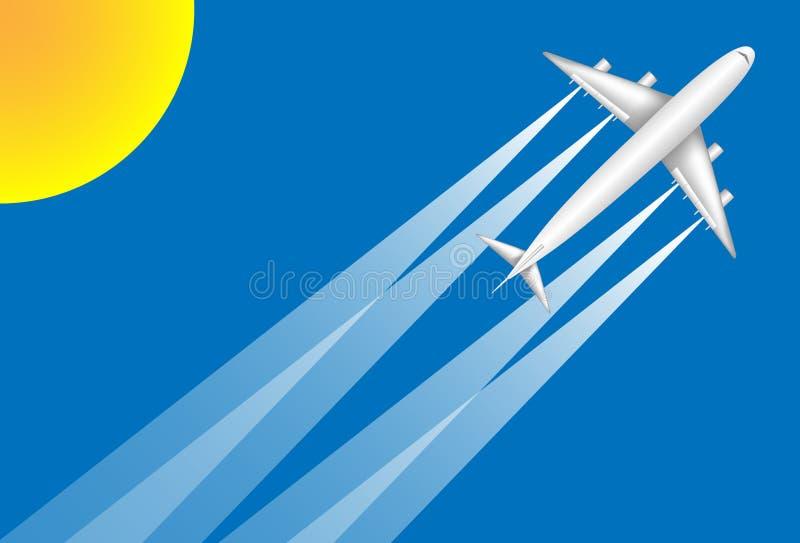 Um avião branco do jato que voa a um destino do feriado em um fundo do céu azul no brilho do sol imagem de stock