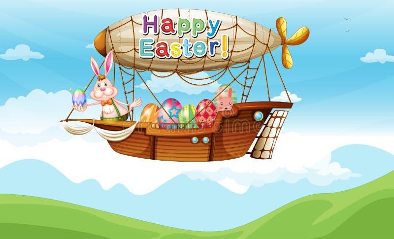 Um avião com um coelho e os ovos da páscoa ilustração do vetor