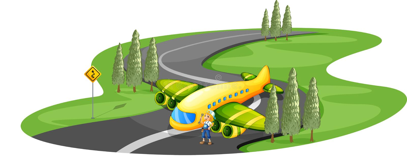 Um avião na estrada ao lado da moça ilustração do vetor