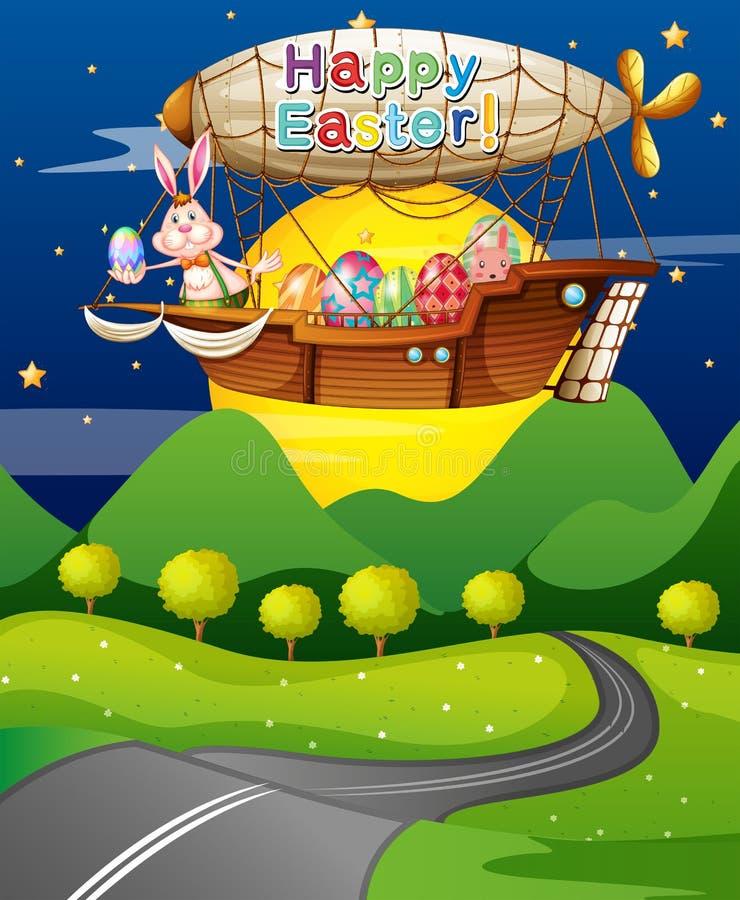 Um avião que voa no meio da noite com coelhos ilustração royalty free