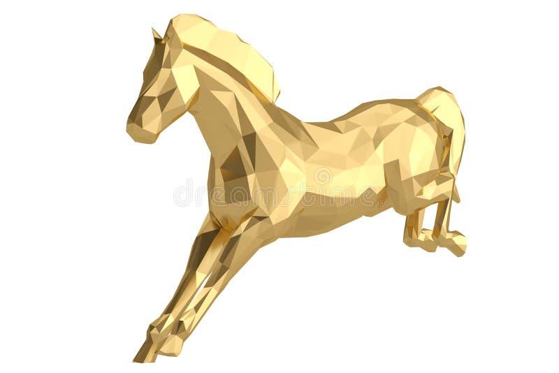 Um baixo cavalo poli isolado no fundo branco ilustração 3D ilustração do vetor