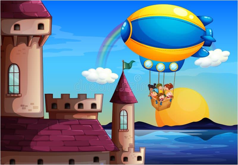 Um balão de flutuação com as crianças que vão ao castelo ilustração do vetor