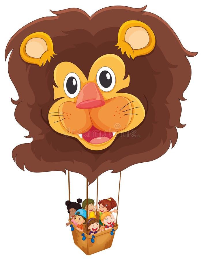 Um balão de flutuação do leão com crianças ilustração do vetor