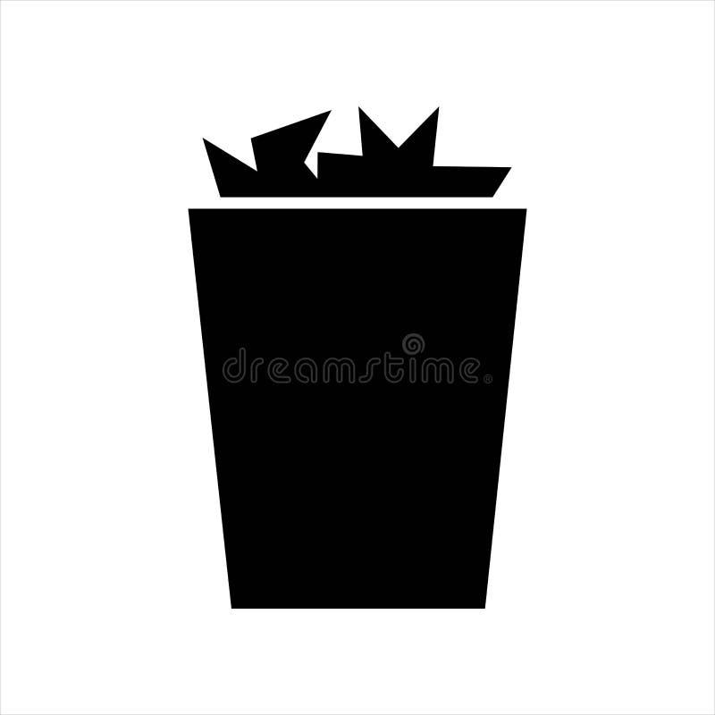 Um balde do lixo completamente objeto isolado preto do ícone ilustração royalty free